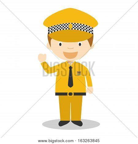 Cute cartoon vector illustration of a taxi driver