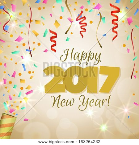 Happy New Year 2017 greeting card. Festive illustration with colorful confetti, party popper and spangles on golden background. Vector.