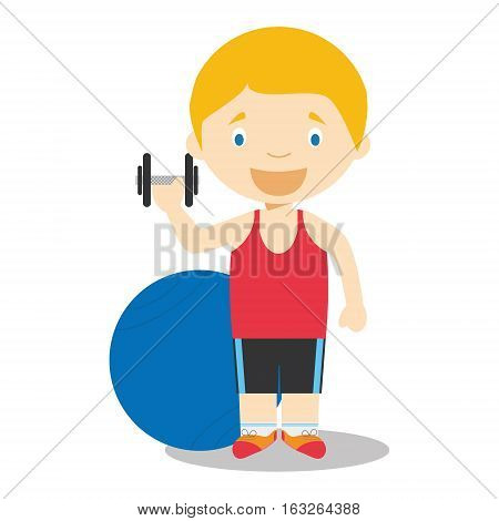 Cute cartoon vector illustration of a trainer