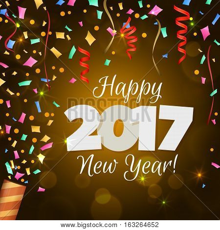 Happy New Year 2017 greeting card. Festive illustration with colorful confetti, party popper and spangles on yellow background. Vector.