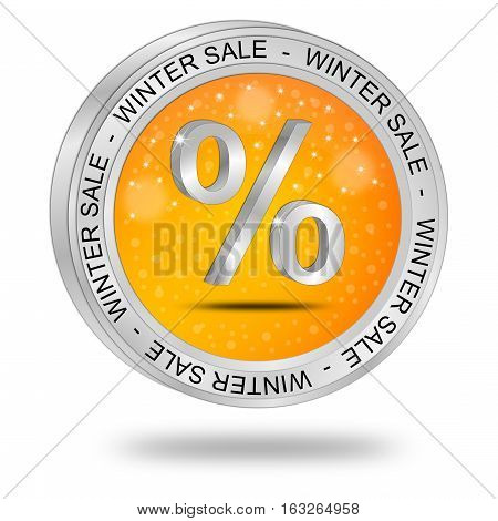 glossy orange Winter Sale Button - 3D illustration