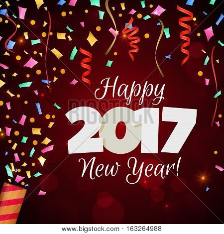 Happy New Year 2017 greeting card. Festive illustration with colorful confetti, party popper and spangles on red background. Vector.