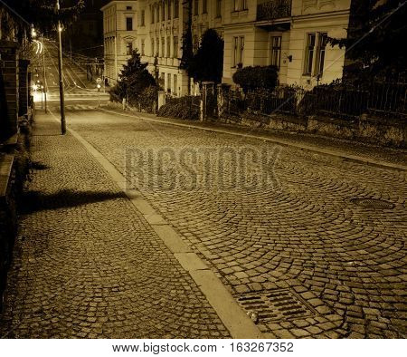 Brno city - old streets in downtown during night Central Europe - Czech Republic.