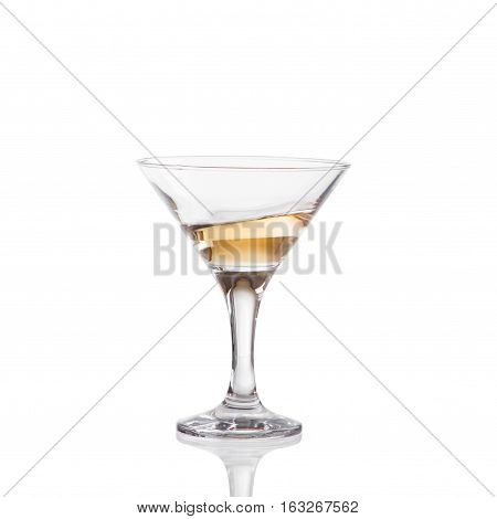 Wine Swirling In A Goblet Martini Glass, Isolated On A White Background