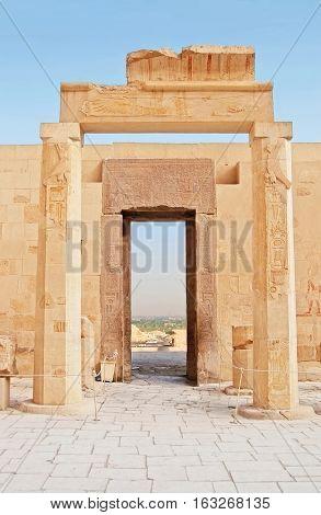 View through Gates in Hatshepsut Temple, Luxor, Egypt