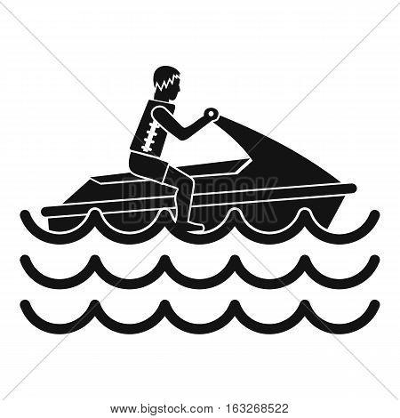 Man on jet ski rides icon. Simple illustration of man on jet ski rides vector icon for web