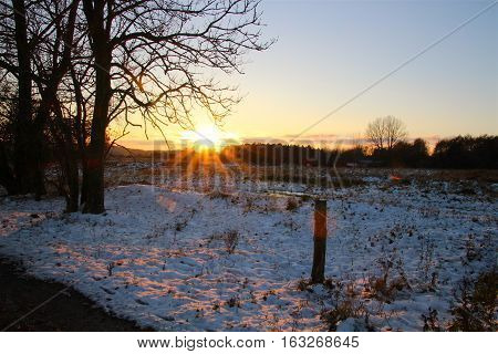 The sun casts a reddish glow in the snow