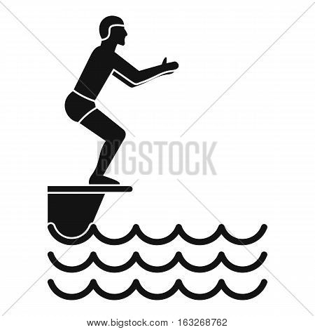 Man standing on springboard icon. Simple illustration of man standing on springboard vector icon for web