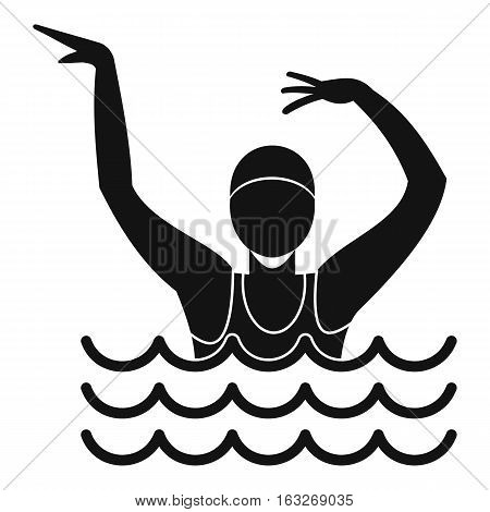 Swimmer in a swimming pool icon. Simple illustration of swimmer in a swimming pool vector icon for web