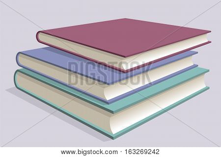 Stack of multicolored books. Three textbooks stacked on each other. Vector illustration