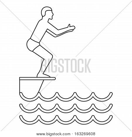 Jumping in a pool icon. Outline illustration of jumping in a pool vector icon for web