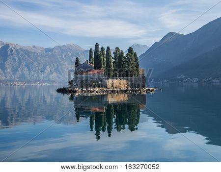Island monastery St. George in Perast, Montenegro