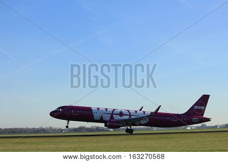 Amsterdam the Netherlands - November 25th 2016: TF-GPA WOW air Airbus A321 taking off from Polderbaan Runway at Amsterdam Airport Schiphol