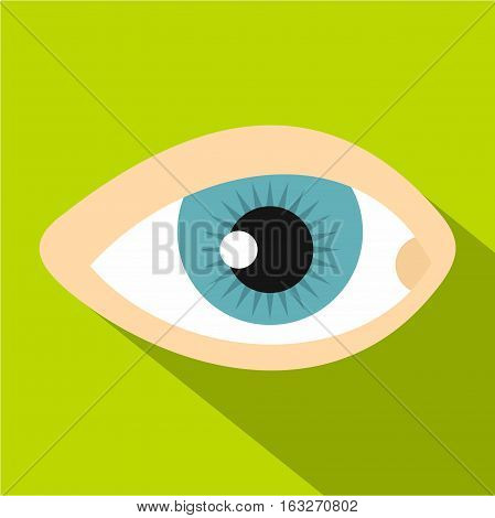 Blue human eye icon. Flat illustration of blue human eye vector icon for web