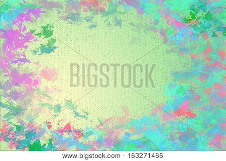 Vivid  painting closeup texture background with  green, blue and different  vivid  vibrant colorful creative patterns