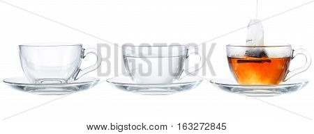 Tea Glass Splash In Sufficient Amount Set Collage On White Background