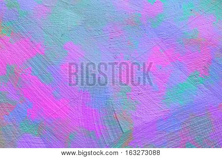 Vivid  painting closeup texture background with  pink, blue and diferent  vivid  vibrant colorful creative patterns