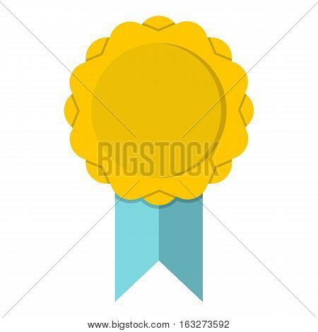 Yellow rosette with blue ribbon icon. Flat illustration of yellow rosette with blue ribbon vector icon for web