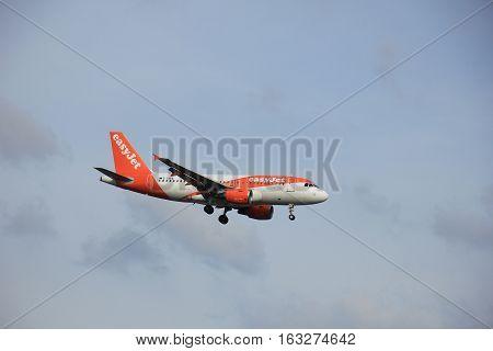 Amsterdam Schiphol Airport - April 1st 2016: G-EZEV easyJet Airbus A319-111 approaching Polderbaan runway arriving from Milan Itay
