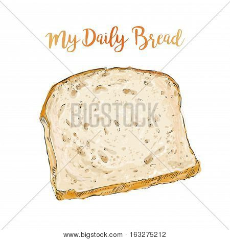 whole grain Sliced bread isolated on white background top view vector illustration isolated