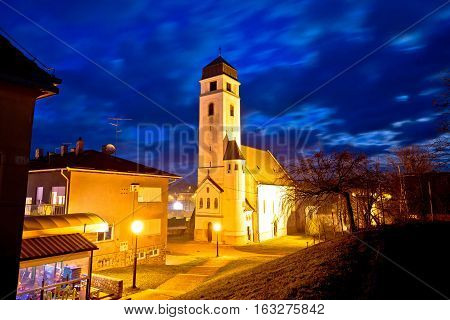 Krizevci Historic Cathedral Evening View