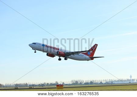Amsterdam the Netherlands - November 25th 2016: PH-CDH Corendon Dutch Airlines Boeing 737 taking off from Polderbaan Runway at Amsterdam Airport Schiphol