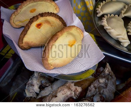 Freshly baked empanadas at a festival in Buenos Aires