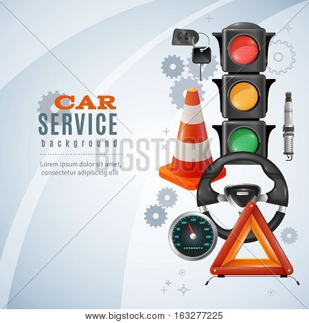 Car service realistic background with traffic lights and steering wheel vector illustration