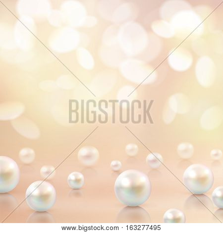 Pearl background with beads of different shape on top of crystal surface with decorative bokeh flecks vector illustration