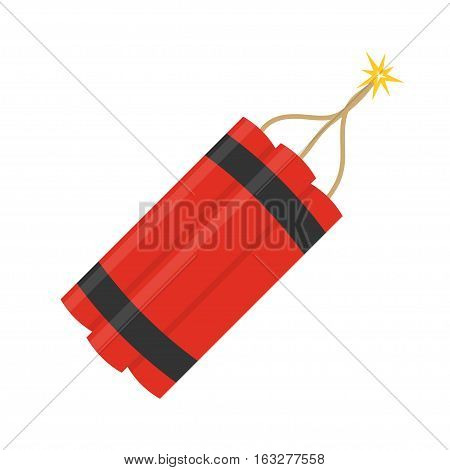 Bundle of dynamite with burning wick vector illustration in flat style. Vector icons of dynamite ready to explode isolated from the background. Dangerous pyrotechnic equipment.