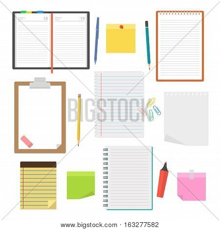 Set of vector notebooks diaries and sheets of paper to take notes to-do lists plans and drawing up the agenda. Collection of office supplies in a flat style isolated from the background.