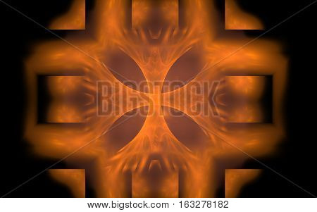 abstract image of wide volumetric lines orange figure inside and a blurred background on a black background