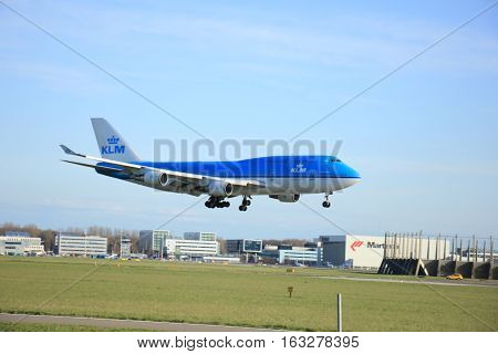 Amsterdam The Netherlands april 11 2015: PH-BFF KLM Royal Dutch Airlines Boeing 747-400M approaching runway 09-27 Buitenveldert