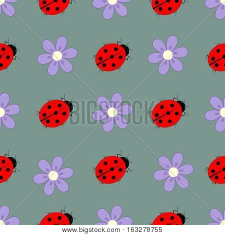 Ladybird and flower seamless pattern. Fashion graphic background design. Modern stylish abstract texture. Colorful template for prints textiles wrapping wallpaper website etc. Vector illustration