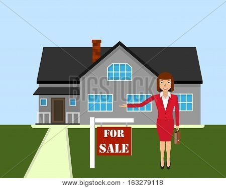 Woman realtor shows a house for sale. Buy apartment. Sale housing Real estate broker cottage for sale.