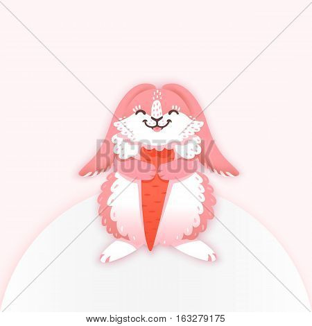 Rabbit cartoon eating a carrot. Funny bunny. Cute hare. Vector illustration grouped and layered for easy editing