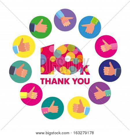 Vector template 10K Thanks subscribers greetings colorful figures Like