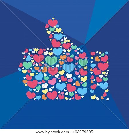 Vector stylized Like hearts hand icon comunication