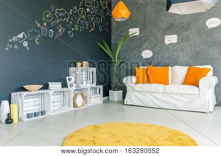 Room With Sofa And Carpet