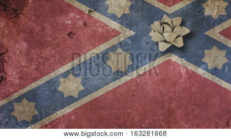 Robert Edward Lee Day. Confederate Flag on Concrete and RIbbon
