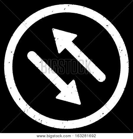 Diagonal Flip Arrows rubber seal stamp watermark. Icon vector symbol with grunge design and dust texture. Scratched white ink emblem on a black background.