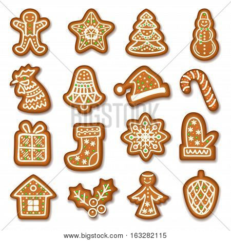 Set of Gingerbread Christmas cookies decorated icing. Holiday cookie in shape of Christmas Xmas tree sock gingerbread men holly berry angel pinecone and gift. Vector illustration