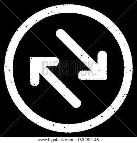 Flip Diagonally rubber seal stamp watermark. Icon vector symbol with grunge design and corrosion texture. Scratched white ink sticker on a black background.