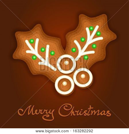 Gingerbread Christmas holly berry decorated icing. Holiday cookie in shape of Christmas holly berry for christmas winter holiday new year's day new year's sweet pastry. Vector illustration