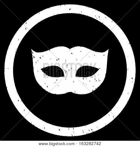 Privacy Mask rubber seal stamp watermark. Icon vector symbol with grunge design and unclean texture. Scratched white ink emblem on a black background.