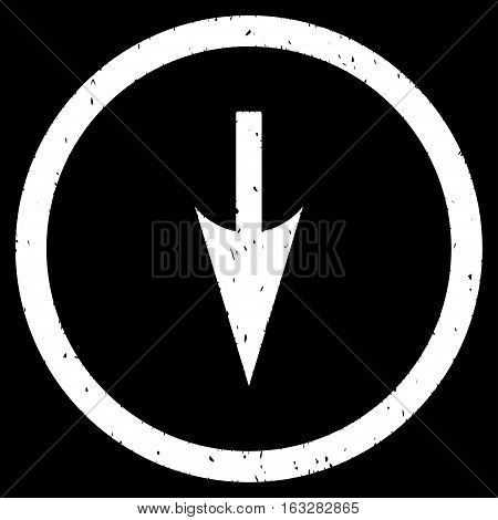 Sharp Down Arrow rubber seal stamp watermark. Icon vector symbol with grunge design and dirty texture. Scratched white ink sign on a black background.