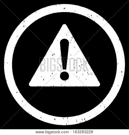 Warning rubber seal stamp watermark. Icon vector symbol with grunge design and corrosion texture. Scratched white ink sign on a black background.