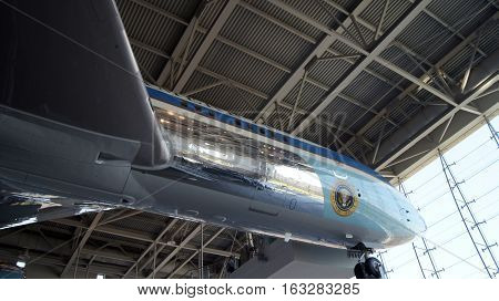 SIMI VALLEY, CALIFORNIA, UNITED STATES - OCT 9, 2014: Air Force One Boeing 707 and Marine One on display at the Reagan Presidential Library.