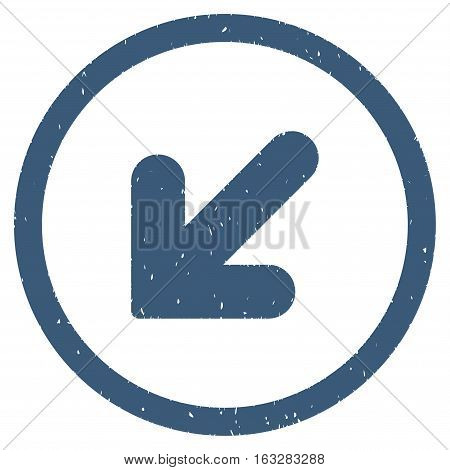 Arrow Down Left rubber seal stamp watermark. Icon vector symbol with grunge design and unclean texture. Scratched blue ink emblem on a white background.