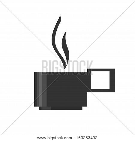 The cup with a hot drink, steam rises over a mug, a cup of coffee or a mug of tea